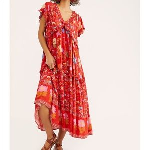 SPELL WILD BLOOM GOWN RED SIZE L